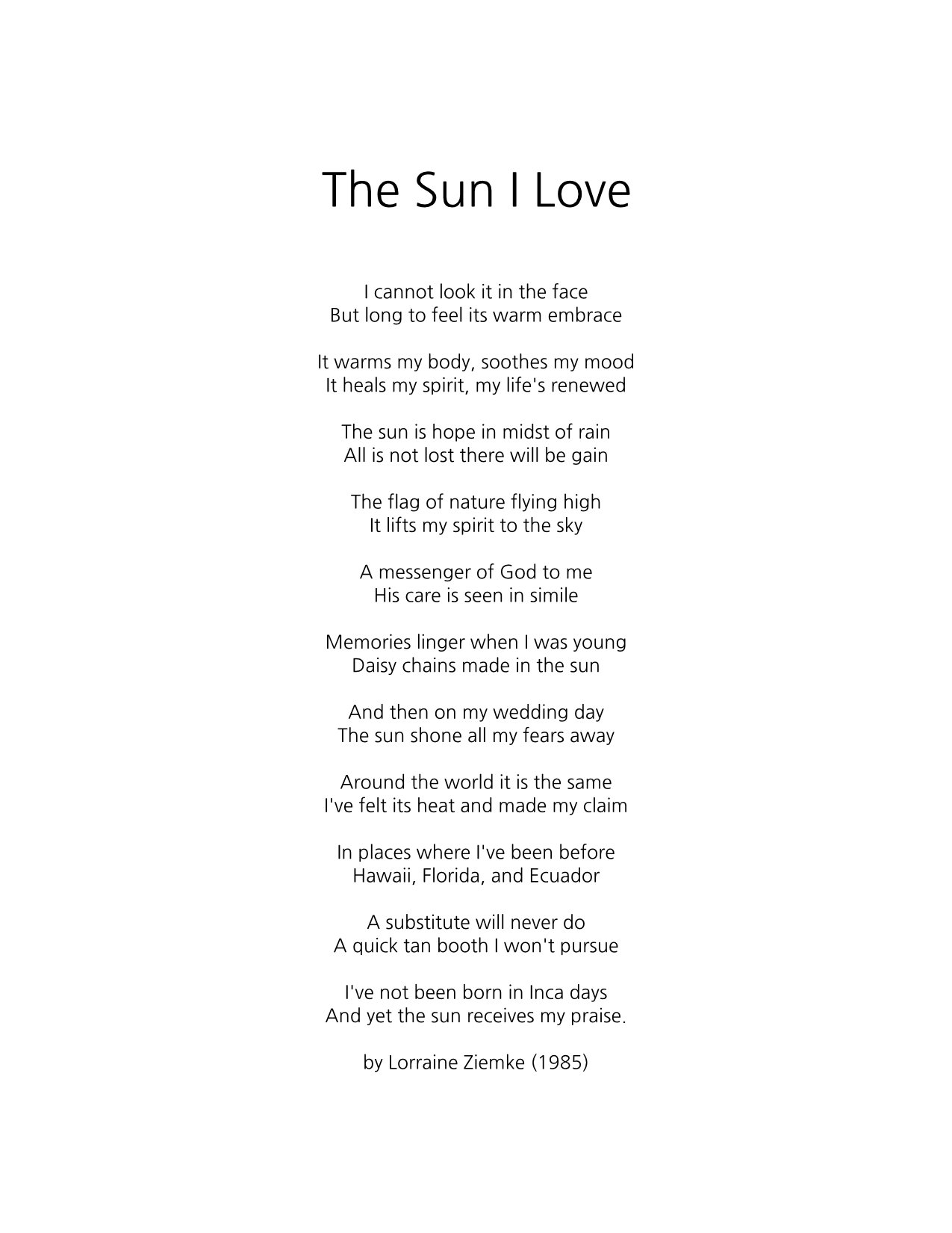 The Sun I Love by Lorraine Ziemke