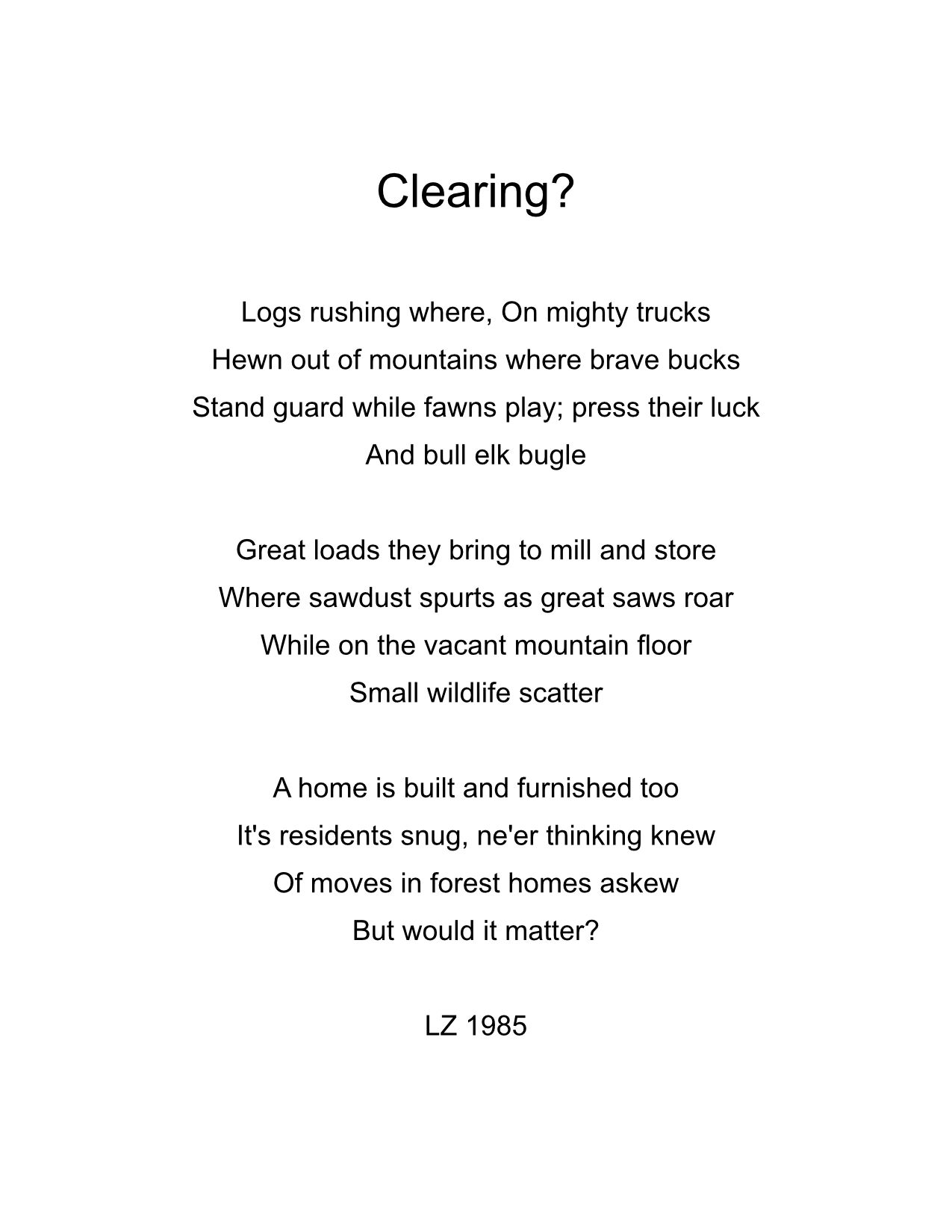 Clearing?