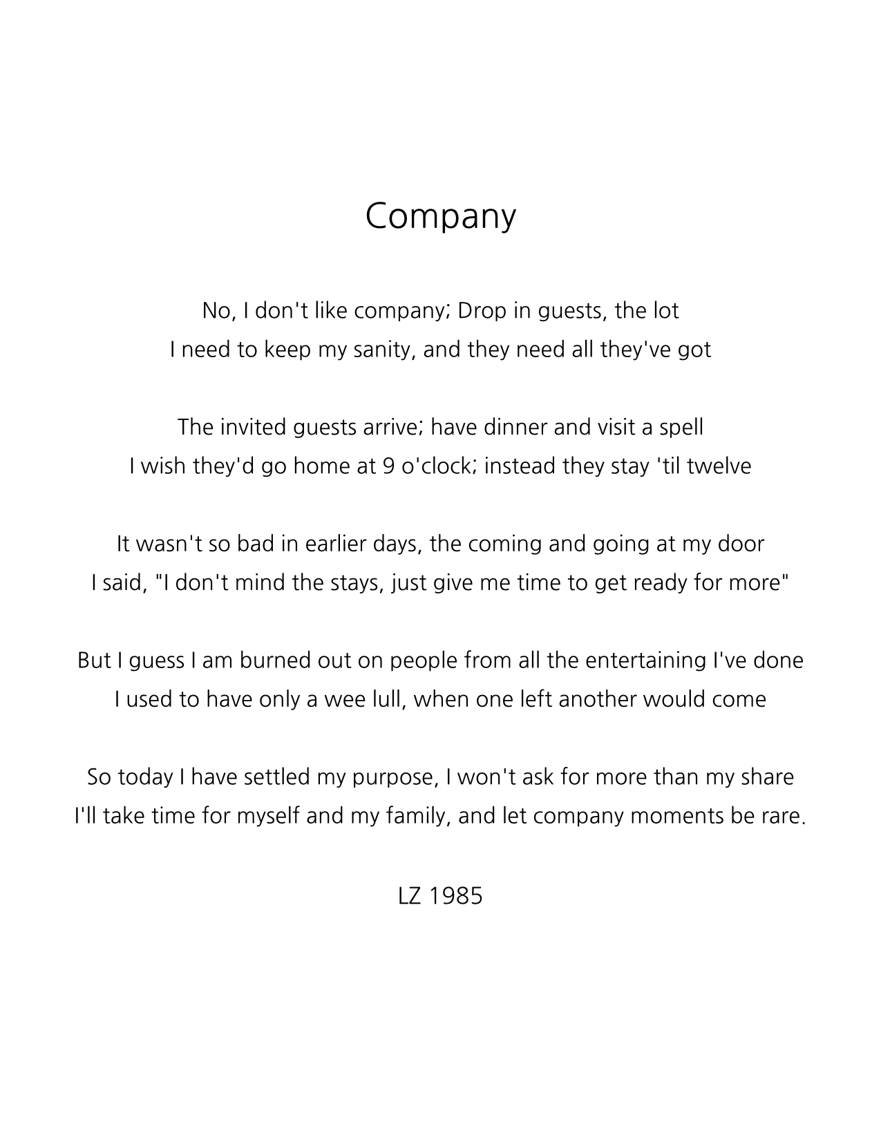 Company - A Poem by Rainie - 1985